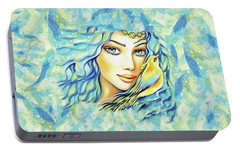 Portable Battery Charger featuring the painting Bird Of Secrets by Eva Campbell