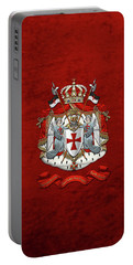 Knights Templar - Coat Of Arms Over Red Velvet Portable Battery Charger