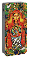Portable Battery Charger featuring the painting Our Lady Of The Sign by Eva Campbell