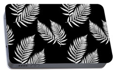 Portable Battery Charger featuring the mixed media Fern Pattern Black And White by Christina Rollo