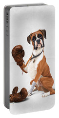 Portable Battery Charger featuring the digital art The Boxer Wordless by Rob Snow