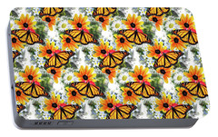 Portable Battery Charger featuring the mixed media Butterfly Pattern by Christina Rollo