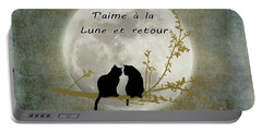 Portable Battery Charger featuring the digital art T'aime A La Lune Et Retour by Linda Lees