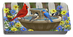The Colors Of Spring - Bird Fountain In Flower Garden Portable Battery Charger