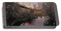 Austin Hike And Bike Trail - Train Trestle 1 Sunset Triptych Right Portable Battery Charger by Felipe Adan Lerma