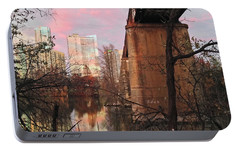 Austin Hike And Bike Trail - Train Trestle 1 Sunset Triptych Middle Portable Battery Charger by Felipe Adan Lerma