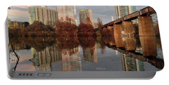 Austin Hike And Bike Trail - Train Trestle 1 Sunset Triptych Left Portable Battery Charger