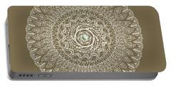 Ecru Mandala Portable Battery Charger by Deborah Smith