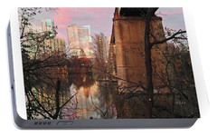 Austin Hike And Bike Trail - Train Trestle 1 Sunset Middle Greeting Card Poster - Over Lady Bird Lak Portable Battery Charger by Felipe Adan Lerma