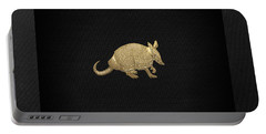 Gold Armadillo On Black Canvas Portable Battery Charger
