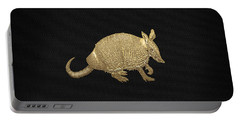 Gold Armadillo On Black Canvas Portable Battery Charger by Serge Averbukh
