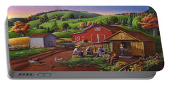 Folk Art Americana - Farmers Shucking Harvesting Corn Farm Landscape - Autumn Rural Country Harvest  Portable Battery Charger