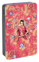Portable Battery Charger featuring the painting Devika Dance by Eva Campbell