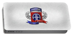 82nd Airborne Division 100th Anniversary Insignia Over White Leather Portable Battery Charger