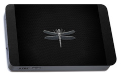 Portable Battery Charger featuring the digital art Silver Dragonfly On Black Canvas by Serge Averbukh