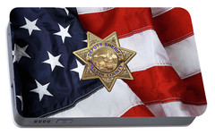 Portable Battery Charger featuring the digital art Marin County Sheriff Department - Deputy Sheriff Badge Over American Flag by Serge Averbukh