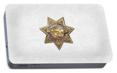 Portable Battery Charger featuring the digital art Marin County Sheriff Department - Deputy Sheriff Badge Over White Leather by Serge Averbukh
