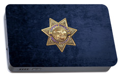 Portable Battery Charger featuring the digital art Marin County Sheriff's Department - Deputy Sheriff's Badge Over Blue Velvet by Serge Averbukh