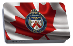 Portable Battery Charger featuring the digital art Toronto Police Service  -  T P S  Emblem Over Canadian Flag by Serge Averbukh