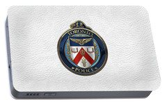 Portable Battery Charger featuring the digital art Toronto Police Service  -  T P S  Emblem Over White Leather by Serge Averbukh