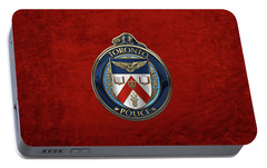 Portable Battery Charger featuring the digital art Toronto Police Service  -  T P S  Emblem Over Red Velvet by Serge Averbukh