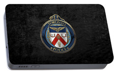Portable Battery Charger featuring the digital art Toronto Police Service  -  T P S  Emblem Over Black Velvet by Serge Averbukh