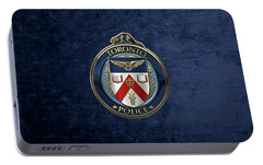 Portable Battery Charger featuring the digital art Toronto Police Service  -  T P S  Emblem Over Blue Velvet by Serge Averbukh