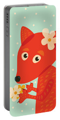 Cute Pretty Fox With Flowers Portable Battery Charger