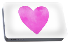 Portable Battery Charger featuring the mixed media Pink Watercolor Heart- Art By Linda Woods by Linda Woods