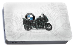 Portable Battery Charger featuring the digital art 2016 Bmw-k1600gt Motorcycle With 3d Badge Over Vintage Blueprint  by Serge Averbukh