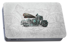 Portable Battery Charger featuring the digital art 2017 Indian Chief Classic Motorcycle With 3d Badge Over Vintage Blueprint  by Serge Averbukh