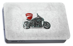 Portable Battery Charger featuring the digital art 2017 Ducati Xdiavel-s Motorcycle With 3d Badge Over Vintage Blueprint  by Serge Averbukh