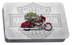 Portable Battery Charger featuring the digital art 2017 Harley-davidson Street Glide Special Motorcycle With 3d Badge Over Vintage Background  by Serge Averbukh