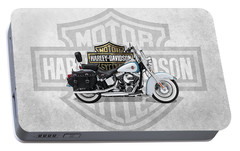 Portable Battery Charger featuring the digital art 2017 Harley-davidson Heritage Softail Classic  Motorcycle With 3d Badge Over Vintage Background  by Serge Averbukh