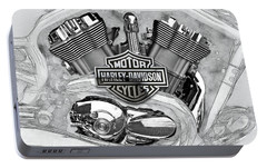 Portable Battery Charger featuring the digital art Harley-davidson Motorcycle Engine Detail With 3d Badge  by Serge Averbukh