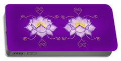Portable Battery Charger featuring the mixed media Purple Lotus by Elizabeth Lock
