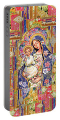 Portable Battery Charger featuring the painting Panagia Eleousa by Eva Campbell
