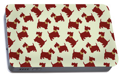 Portable Battery Charger featuring the mixed media Scottie Dog Plaid by Christina Rollo