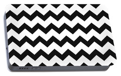 Portable Battery Charger featuring the mixed media Black White Geometric Pattern by Christina Rollo