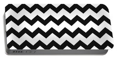 Black White Geometric Pattern Portable Battery Charger