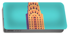 Chrysler Building - Cyan Portable Battery Charger