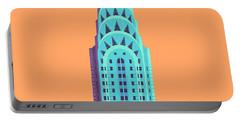 Chrysler Building - Orange Portable Battery Charger