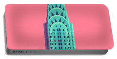 Chrysler Building - Red Portable Battery Charger