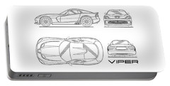 Srt Viper Blueprint Portable Battery Charger by Mark Rogan