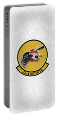 Portable Battery Charger featuring the digital art 27th Fighter Squadron - 27 Fs Patch Over White Leather by Serge Averbukh