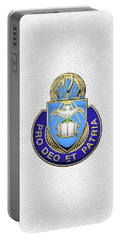Portable Battery Charger featuring the digital art U.s. Army Chaplain Corps - Regimental Insignia Over White Leather by Serge Averbukh