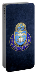 Portable Battery Charger featuring the digital art U. S. Army Chaplain Corps - Regimental Insignia Over Blue Velvet by Serge Averbukh