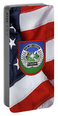 Portable Battery Charger featuring the digital art U. S.  Air Force Tactical Air Control Party -  T A C P  Beret Flash With Crest Over American Flag by Serge Averbukh