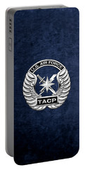 Portable Battery Charger featuring the digital art U. S.  Air Force Tactical Air Control Party -  T A C P  Badge Over Blue Velvet by Serge Averbukh
