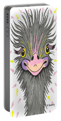 Hair Raising Day - Contemporary Ostrich Art Portable Battery Charger